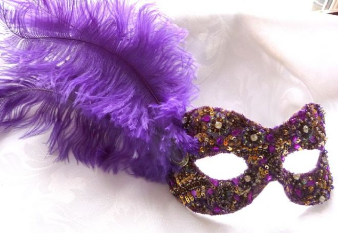 Bejewelled Purple & Gold Feathered masquerade eye mask